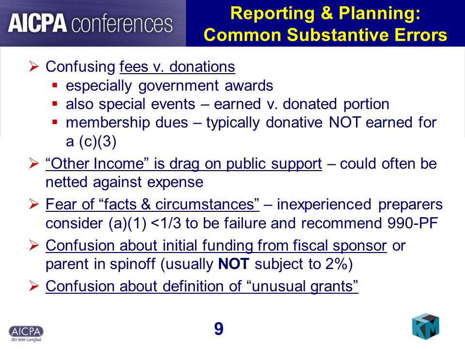 Reporting & Planning: Common Substantive Errors Confusing fees v. donations especially government awards also special events – earned v. donated porti