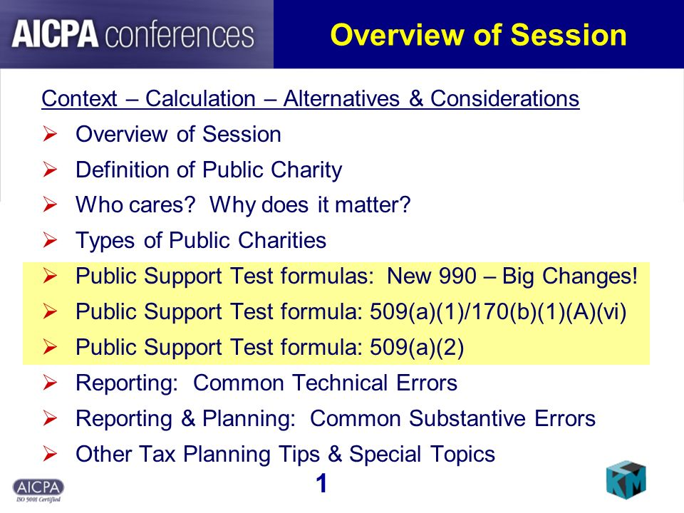 Overview of Session Context – Calculation – Alternatives & Considerations Overview of Session Definition of Public Charity Who cares.