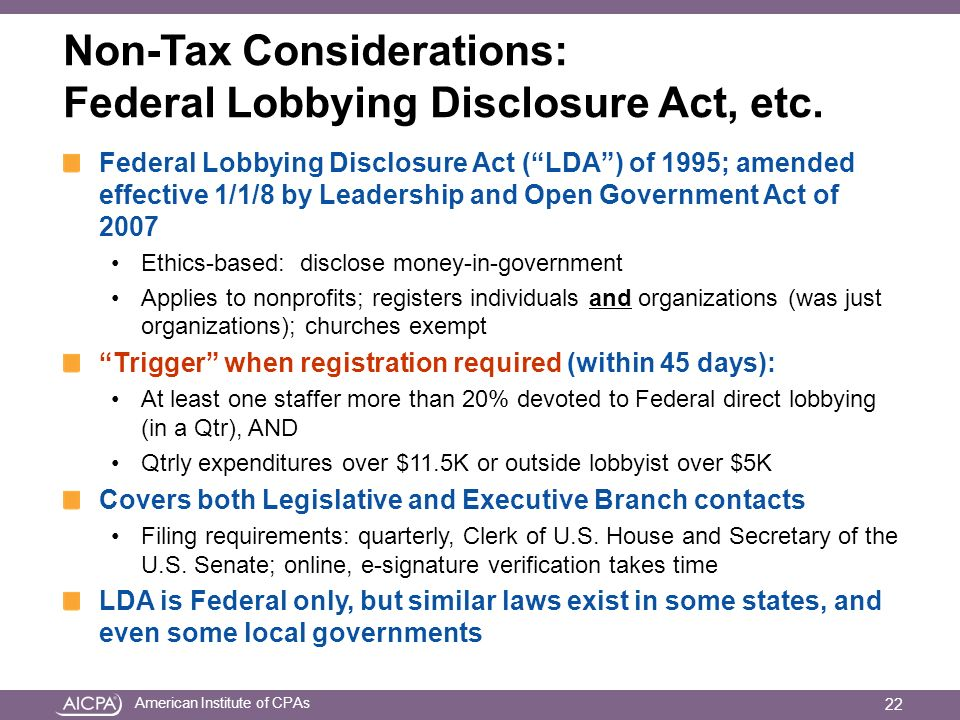 American Institute of CPAs Non-Tax Considerations: Federal Lobbying Disclosure Act, etc.