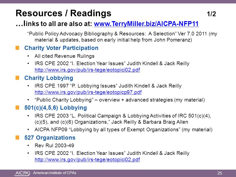 American Institute of CPAs Resources / Readings 1/2 …l inks to all are also at: www.TerryMiller.biz/AICPA-NFP11www.TerryMiller.biz/AICPA-NFP11 Public