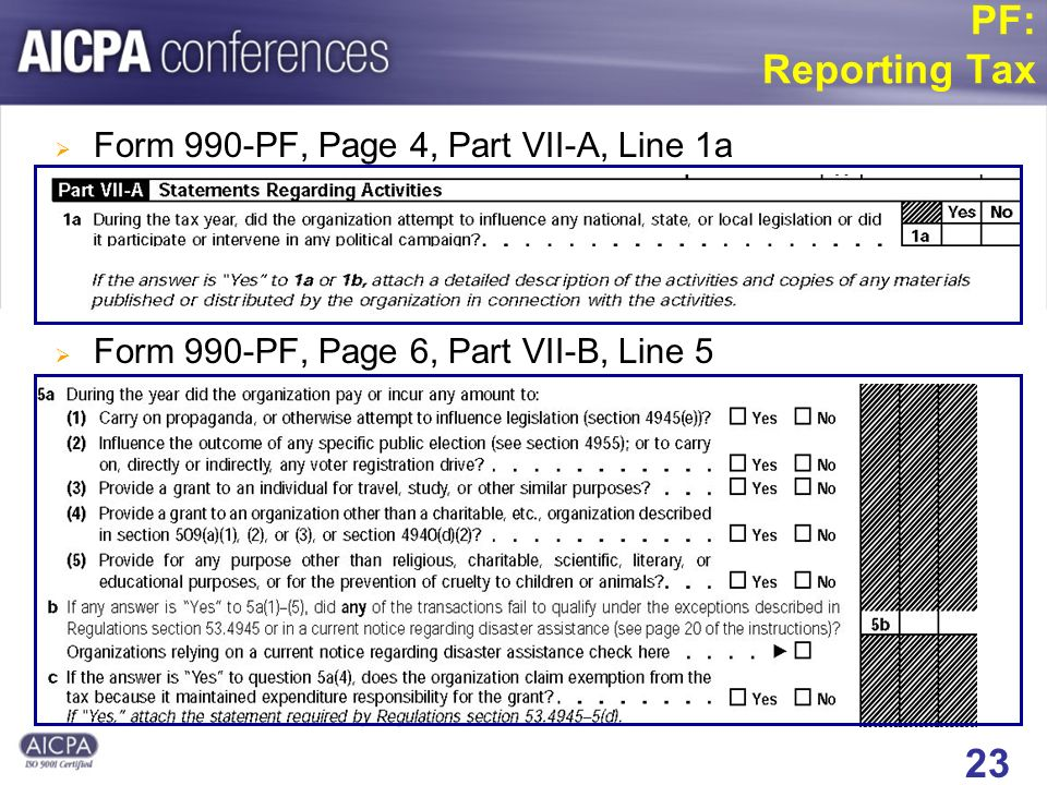 23 PF: Reporting Tax Form 990-PF, Page 4, Part VII-A, Line 1a Form 990-PF, Page 6, Part VII-B, Line 5