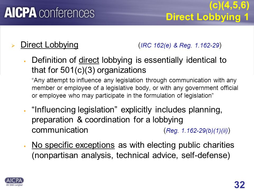 32 (c)(4,5,6) Direct Lobbying 1 Direct Lobbying ( IRC 162(e) & Reg. 1.162-29 ) Definition of direct lobbying is essentially identical to that for 501(