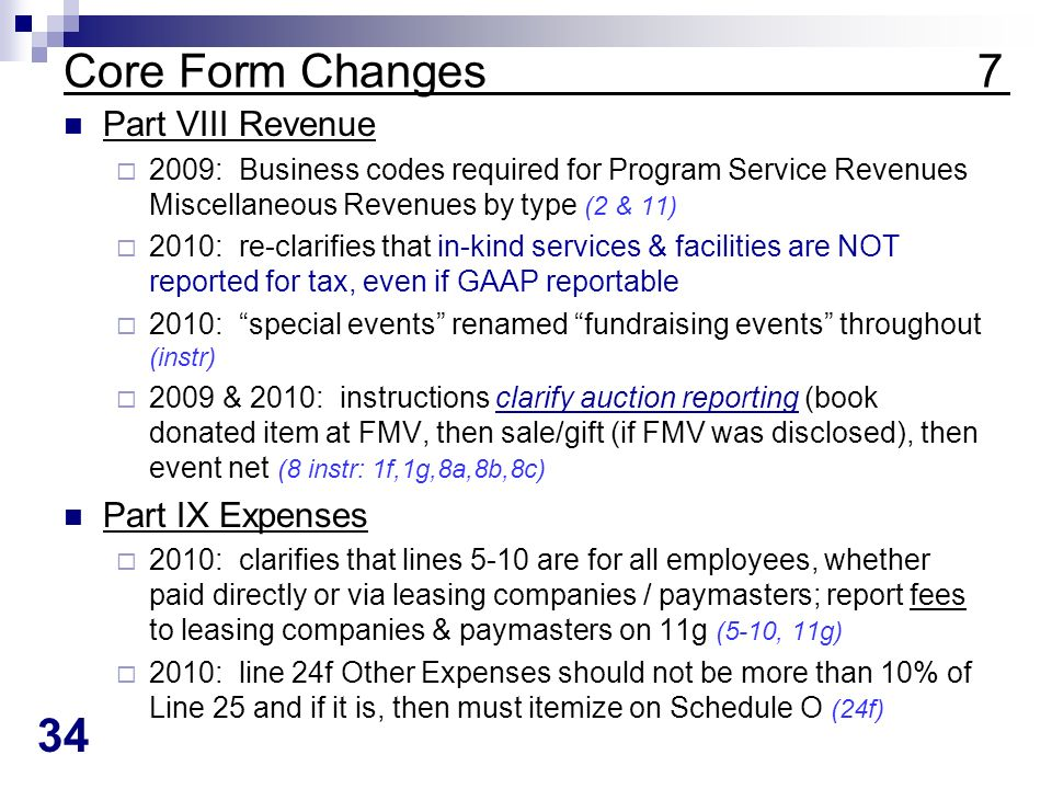 34 Core Form Changes 7 Part VIII Revenue 2009: Business codes required for Program Service Revenues Miscellaneous Revenues by type (2 & 11) 2010: re-clarifies that in-kind services & facilities are NOT reported for tax, even if GAAP reportable 2010: special events renamed fundraising events throughout (instr) 2009 & 2010: instructions clarify auction reporting (book donated item at FMV, then sale/gift (if FMV was disclosed), then event net (8 instr: 1f,1g,8a,8b,8c) Part IX Expenses 2010: clarifies that lines 5-10 are for all employees, whether paid directly or via leasing companies / paymasters; report fees to leasing companies & paymasters on 11g (5-10, 11g) 2010: line 24f Other Expenses should not be more than 10% of Line 25 and if it is, then must itemize on Schedule O (24f)