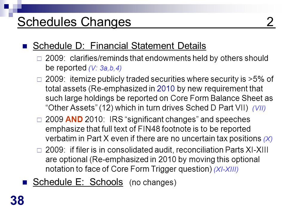38 Schedules Changes 2 Schedule D: Financial Statement Details 2009: clarifies/reminds that endowments held by others should be reported (V: 3a,b,4) 2009: itemize publicly traded securities where security is >5% of total assets (Re-emphasized in 2010 by new requirement that such large holdings be reported on Core Form Balance Sheet as Other Assets (12) which in turn drives Sched D Part VII) (VII) 2009 AND 2010: IRS significant changes and speeches emphasize that full text of FIN48 footnote is to be reported verbatim in Part X even if there are no uncertain tax positions (X) 2009: if filer is in consolidated audit, reconciliation Parts XI-XIII are optional (Re-emphasized in 2010 by moving this optional notation to face of Core Form Trigger question) (XI-XIII) Schedule E: Schools (no changes)