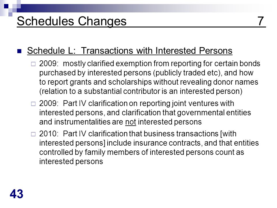 43 Schedules Changes 7 Schedule L: Transactions with Interested Persons 2009: mostly clarified exemption from reporting for certain bonds purchased by interested persons (publicly traded etc), and how to report grants and scholarships without revealing donor names (relation to a substantial contributor is an interested person) 2009: Part IV clarification on reporting joint ventures with interested persons, and clarification that governmental entities and instrumentalities are not interested persons 2010: Part IV clarification that business transactions [with interested persons] include insurance contracts, and that entities controlled by family members of interested persons count as interested persons