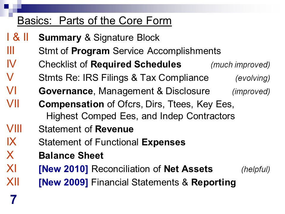 7 Basics: Parts of the Core Form I & II Summary & Signature Block III Stmt of Program Service Accomplishments IV Checklist of Required Schedules (much improved) V Stmts Re: IRS Filings & Tax Compliance (evolving) VI Governance, Management & Disclosure (improved) VII Compensation of Ofcrs, Dirs, Ttees, Key Ees, Highest Comped Ees, and Indep Contractors VIII Statement of Revenue IX Statement of Functional Expenses X Balance Sheet XI [New 2010] Reconciliation of Net Assets (helpful) XII [New 2009] Financial Statements & Reporting
