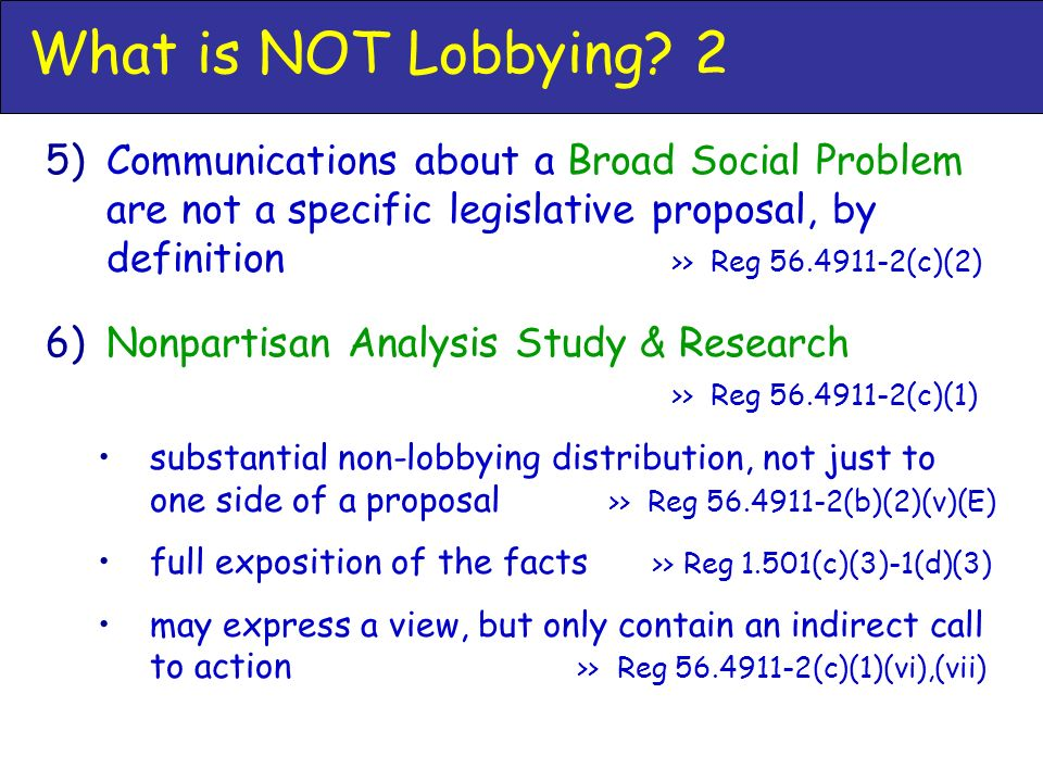 What is NOT Lobbying.