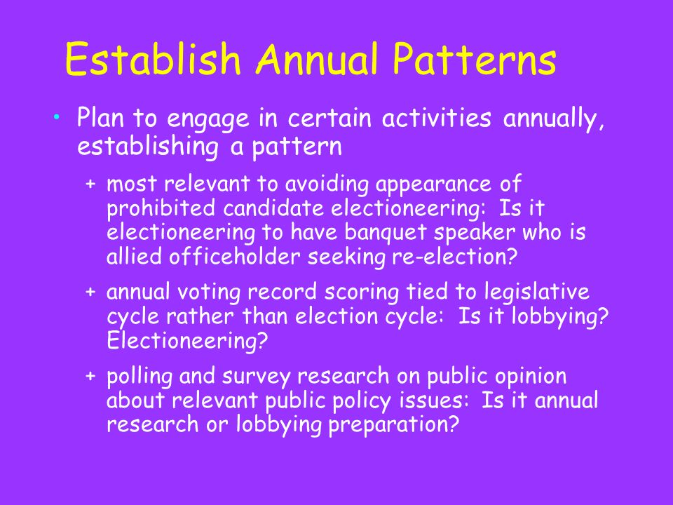 Establish Annual Patterns Plan to engage in certain activities annually, establishing a pattern +most relevant to avoiding appearance of prohibited candidate electioneering: Is it electioneering to have banquet speaker who is allied officeholder seeking re-election.