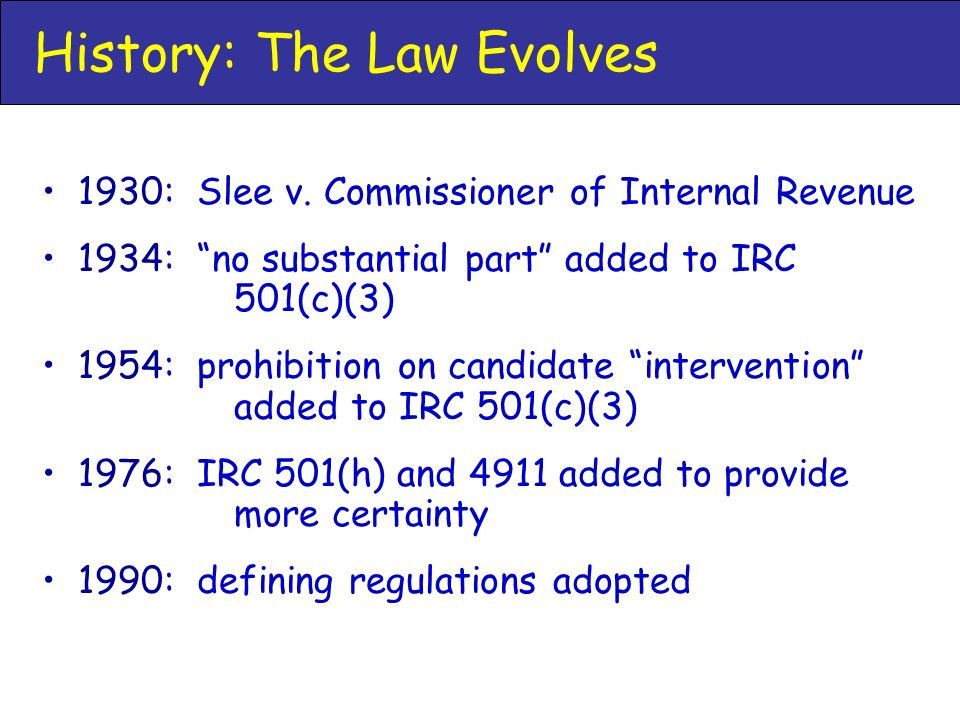 History: The Law Evolves 1930: Slee v.