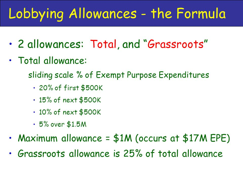 Lobbying Allowances - the Formula 2 allowances: Total, and Grassroots Total allowance: sliding scale % of Exempt Purpose Expenditures 20% of first $500K 15% of next $500K 10% of next $500K 5% over $1.5M Maximum allowance = $1M (occurs at $17M EPE) Grassroots allowance is 25% of total allowance