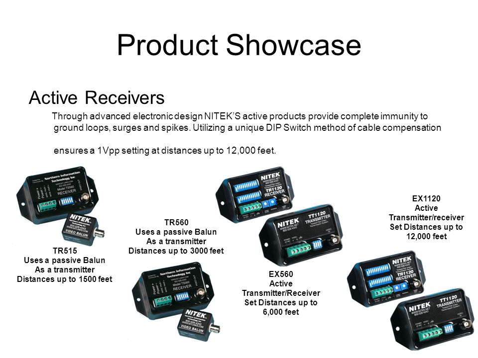 Product Showcase Active Receivers Through advanced electronic design NITEKS active products provide complete immunity to ground loops, surges and spik