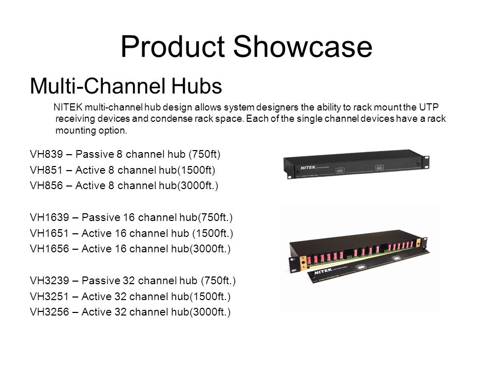 Product Showcase Multi-Channel Hubs NITEK multi-channel hub design allows system designers the ability to rack mount the UTP receiving devices and con