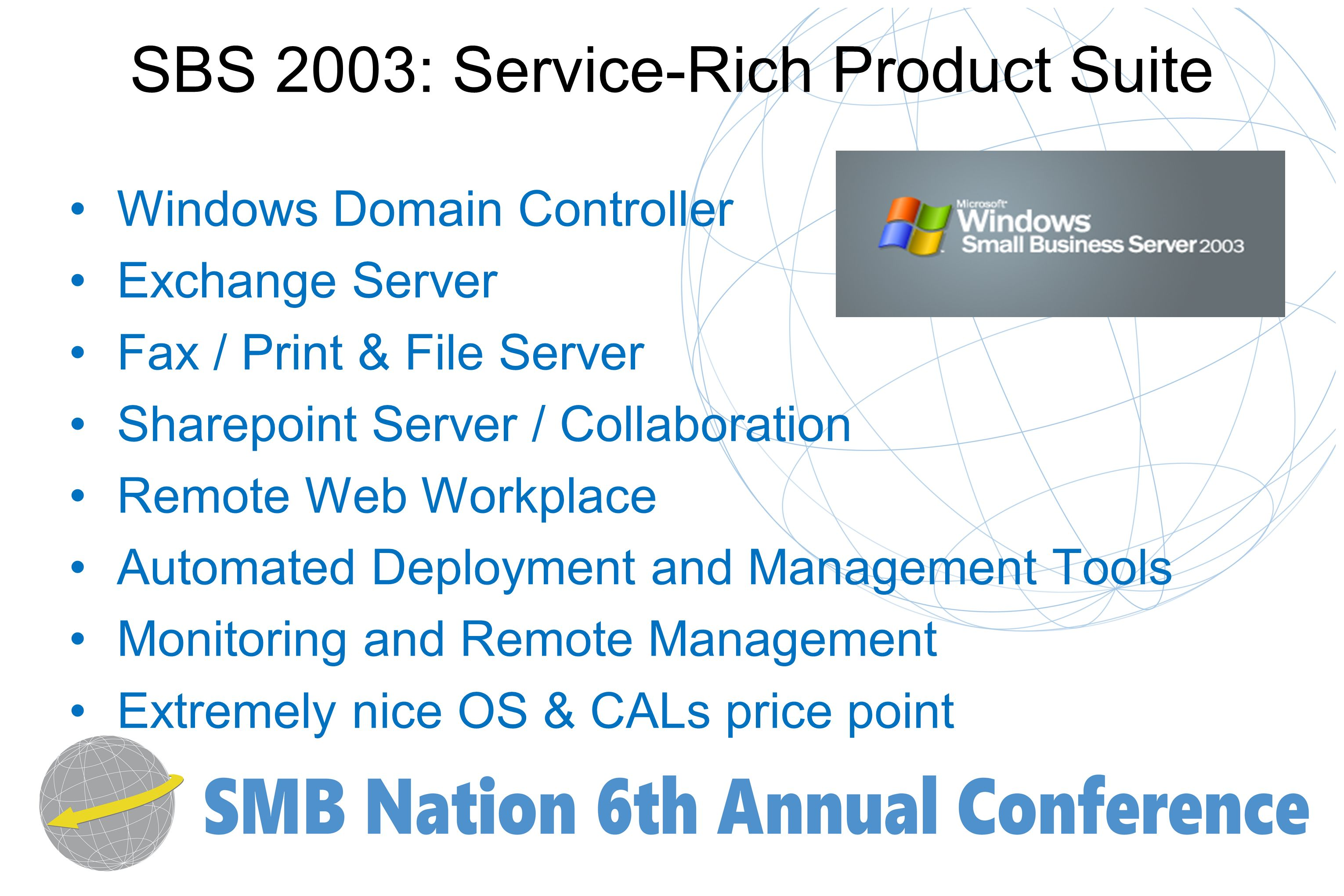 SBS 2003: Service-Rich Product Suite Windows Domain Controller Exchange Server Fax / Print & File Server Sharepoint Server / Collaboration Remote Web Workplace Automated Deployment and Management Tools Monitoring and Remote Management Extremely nice OS & CALs price point