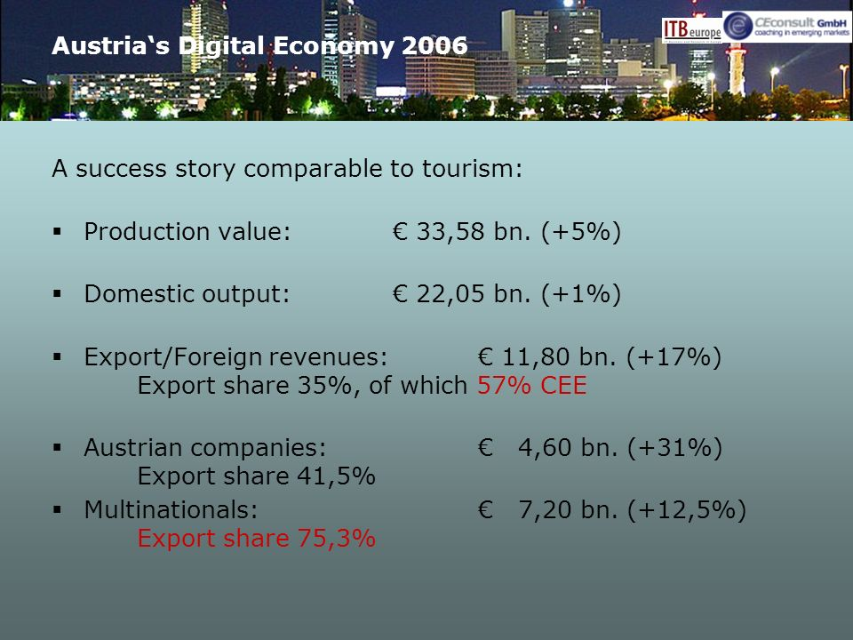 Austrias Digital Economy 2006 A success story comparable to tourism: Production value: 33,58 bn. (+5%) Domestic output: 22,05 bn. (+1%) Export/Foreign