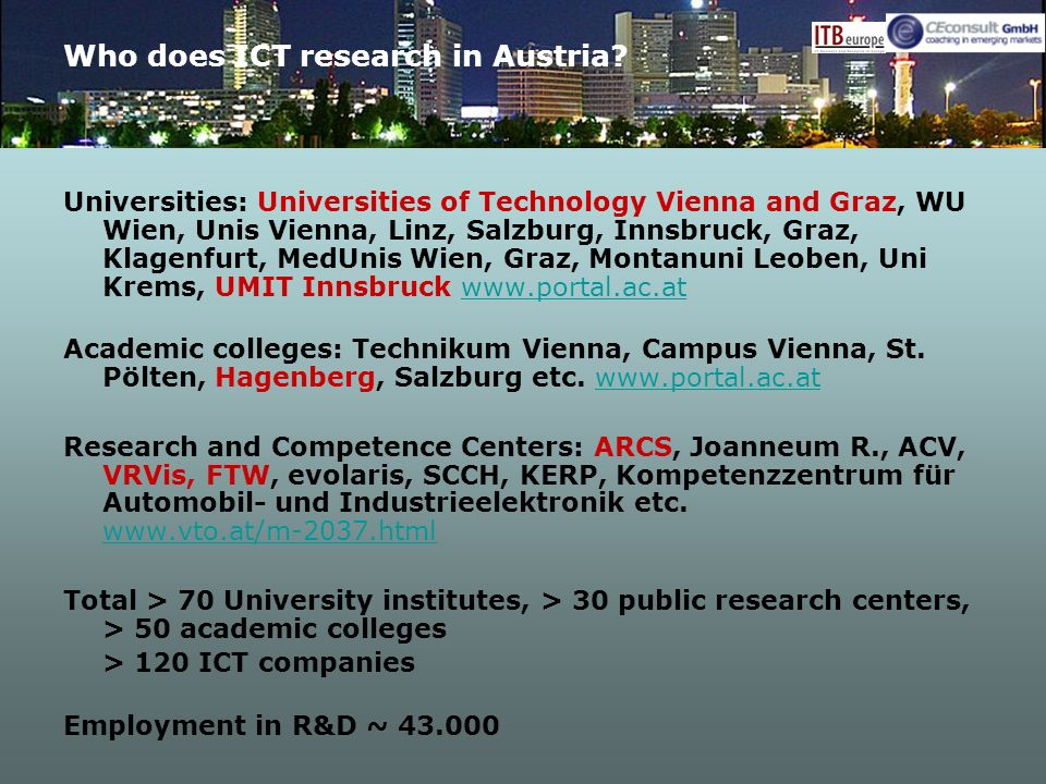 Who does ICT research in Austria.