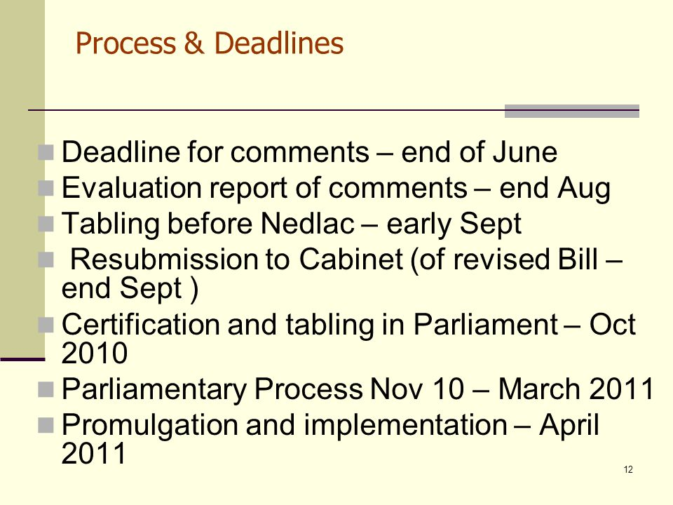 12 Process & Deadlines Deadline for comments – end of June Evaluation report of comments – end Aug Tabling before Nedlac – early Sept Resubmission to Cabinet (of revised Bill – end Sept ) Certification and tabling in Parliament – Oct 2010 Parliamentary Process Nov 10 – March 2011 Promulgation and implementation – April 2011