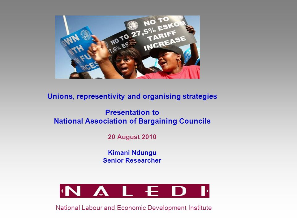 Unions, representivity and organising strategies Presentation to National Association of Bargaining Councils 20 August 2010 Kimani Ndungu Senior Researcher National Labour and Economic Development Institute