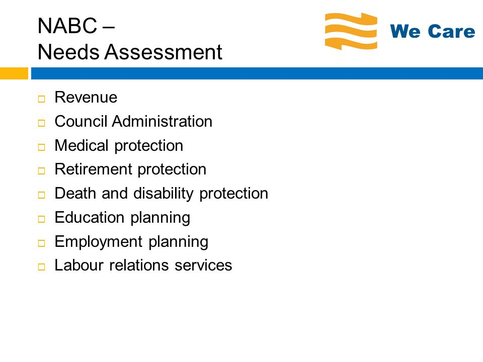 NABC – Needs Assessment Revenue Council Administration Medical protection Retirement protection Death and disability protection Education planning Emp