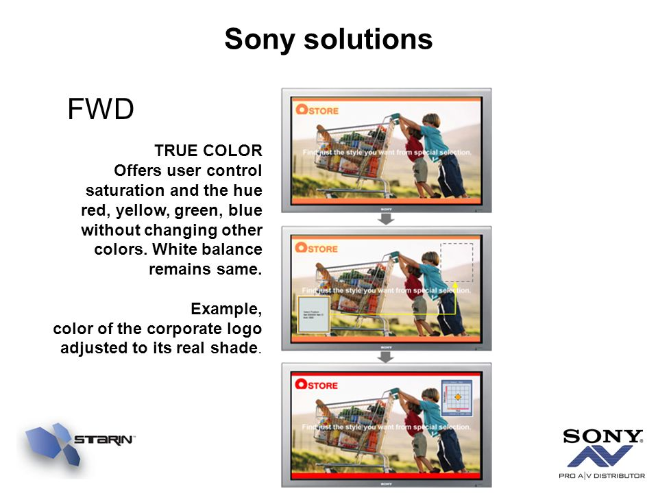 Sony solutions FWD TRUE COLOR Offers user control saturation and the hue red, yellow, green, blue without changing other colors.