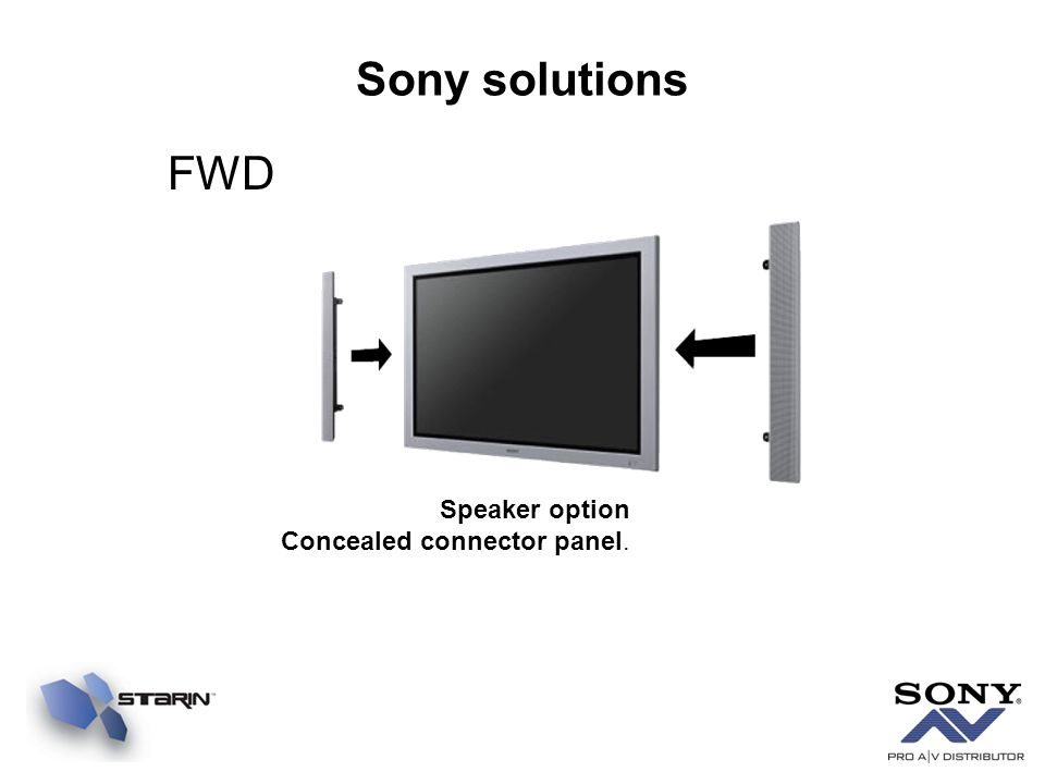 Sony solutions FWD Speaker option Concealed connector panel.
