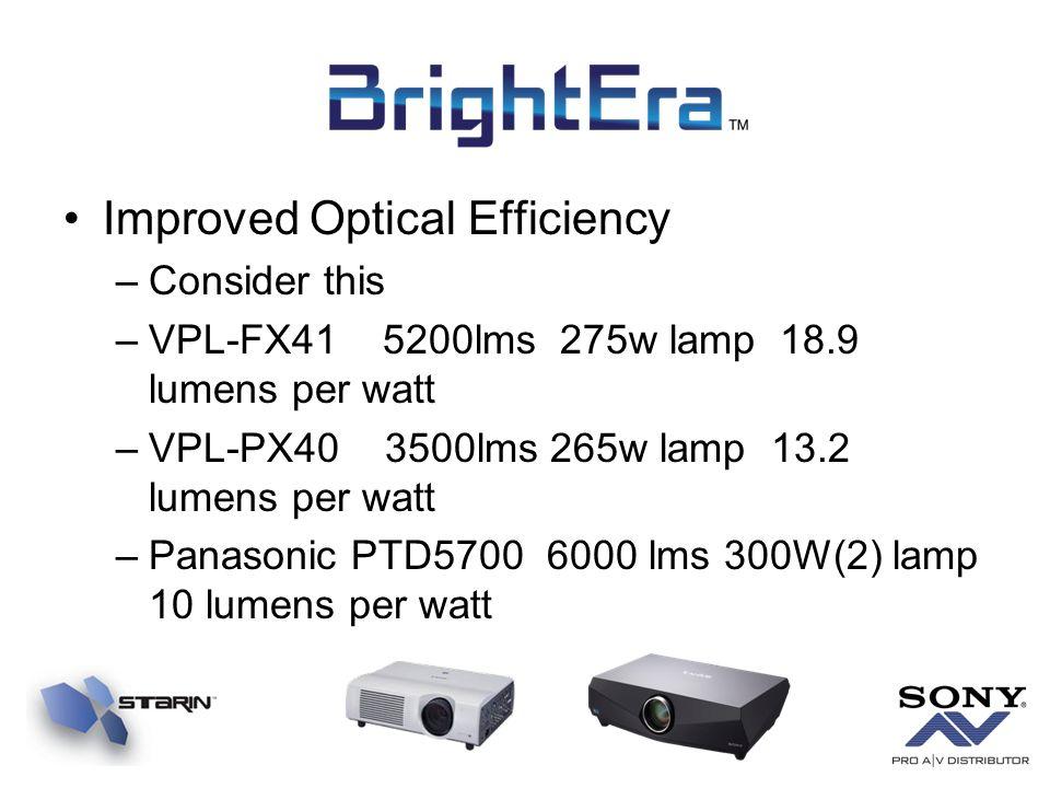 Improved Optical Efficiency –Consider this –VPL-FX41 5200lms 275w lamp 18.9 lumens per watt –VPL-PX40 3500lms 265w lamp 13.2 lumens per watt –Panasoni