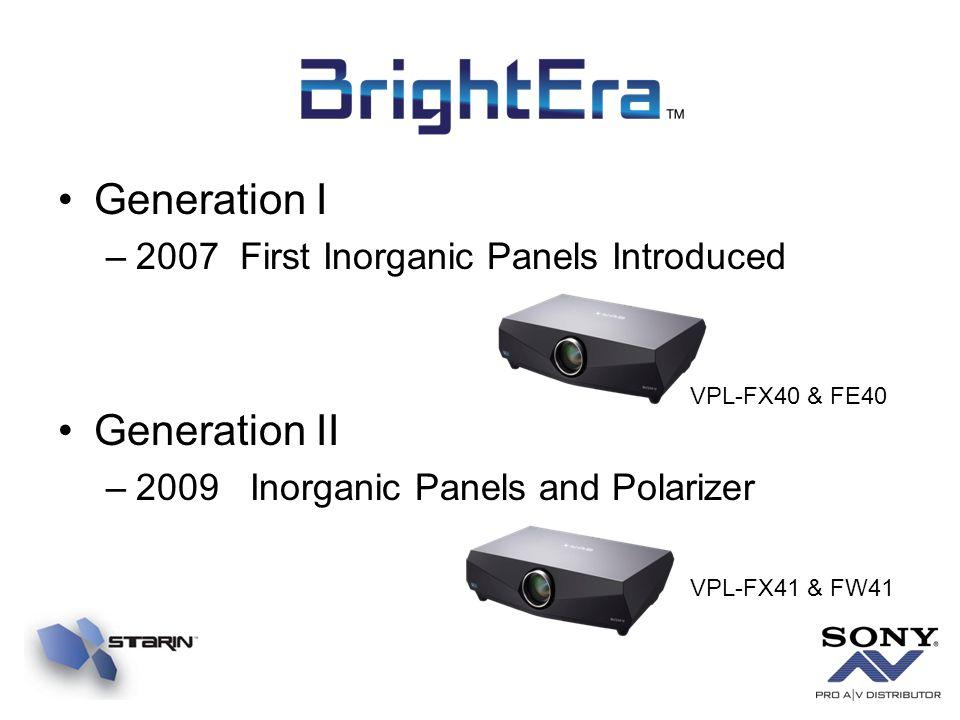 Generation I –2007 First Inorganic Panels Introduced Generation II –2009 Inorganic Panels and Polarizer VPL-FX40 & FE40 VPL-FX41 & FW41