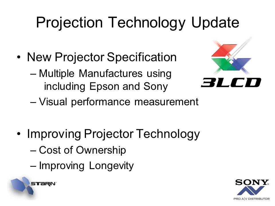 Projection Technology Update New Projector Specification –Multiple Manufactures using including Epson and Sony –Visual performance measurement Improvi