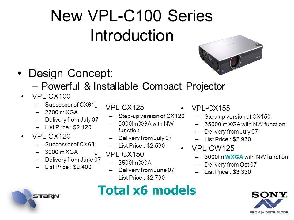 New VPL-C100 Series Introduction VPL-CX100 –Successor of CX61 –2700lm XGA –Delivery from July 07 –List Price : $2,120 VPL-CX120 –Successor of CX63 –30