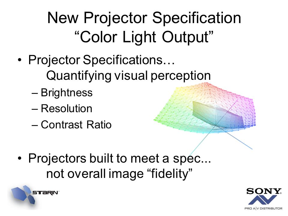 New Projector Specification Color Light Output Projector Specifications… Quantifying visual perception –Brightness –Resolution –Contrast Ratio Project