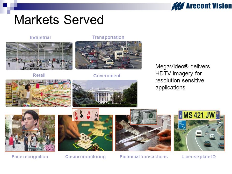 Government Industrial Retail Transportation Markets Served License plate IDFace recognitionFinancial transactionsCasino monitoring MegaVideo® delivers HDTV imagery for resolution-sensitive applications