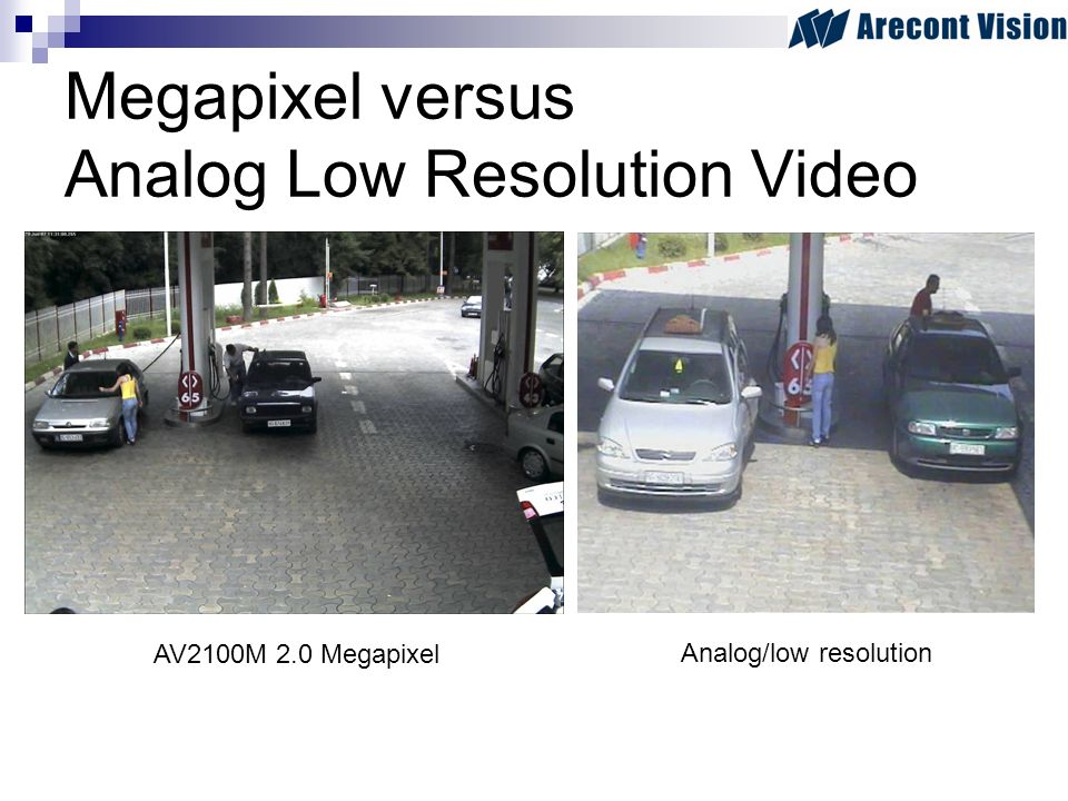 Megapixel versus Analog Low Resolution Video AV2100M 2.0 Megapixel Analog/low resolution