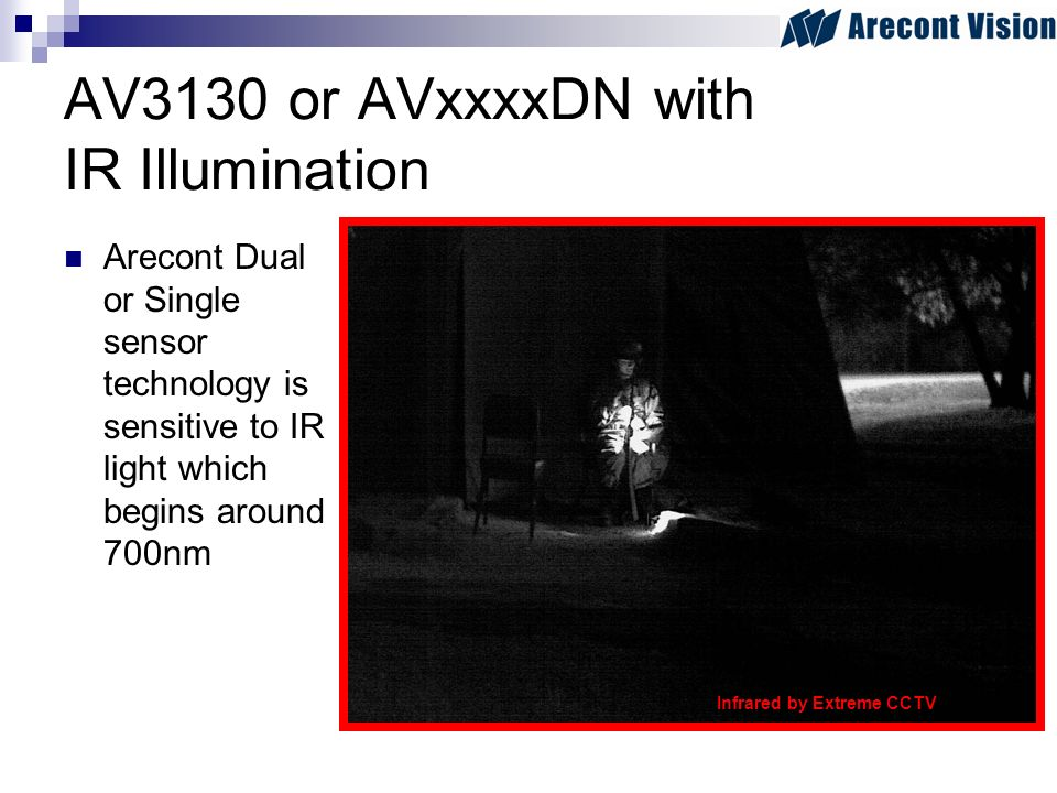 AV3130 or AVxxxxDN with IR Illumination Arecont Dual or Single sensor technology is sensitive to IR light which begins around 700nm Infrared by Extreme CCTV