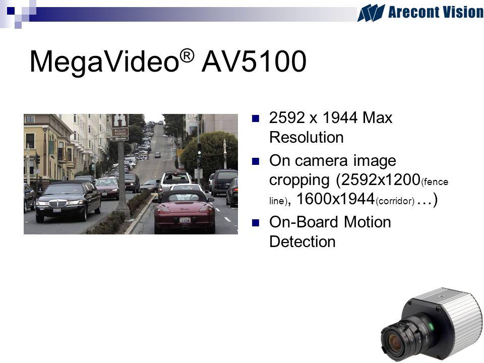 MegaVideo ® AV5100 2592 x 1944 Max Resolution On camera image cropping (2592x1200 (fence line), 1600x1944 (corridor) …) On-Board Motion Detection
