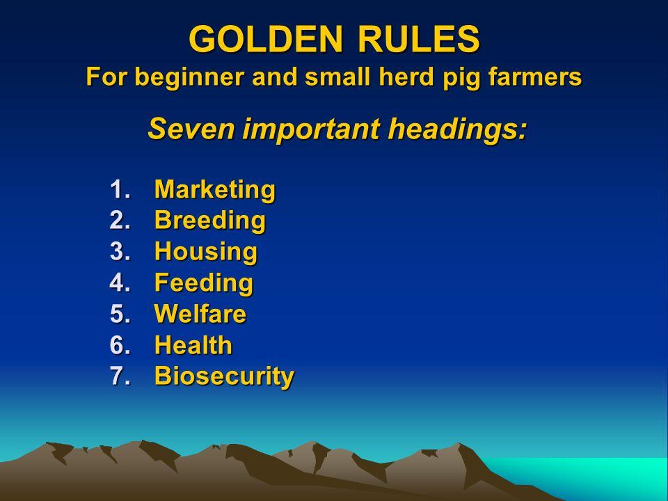 GOLDEN RULES For beginner and small herd pig farmers Seven important headings: 1.Marketing 2.Breeding 3.Housing 4.Feeding 5.Welfare 6.Health 7.Biosecu