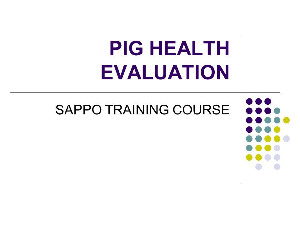 PIG HEALTH EVALUATION SAPPO TRAINING COURSE