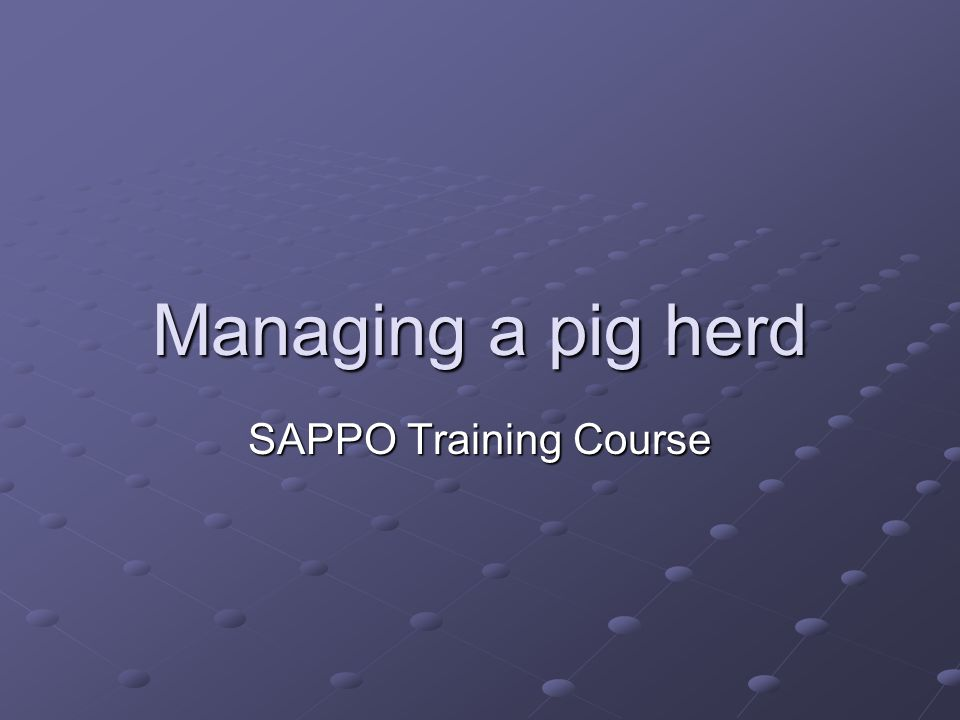 Managing a pig herd SAPPO Training Course