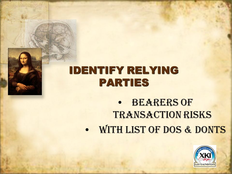 IDENTIFY RELYING PARTIES BEARERS of transaction Risks with List of DOS & DONTS BEARERS of transaction Risks with List of DOS & DONTS