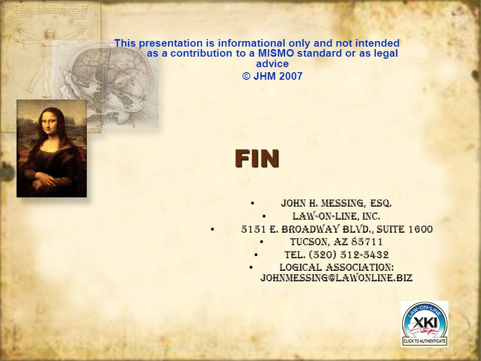 FINFIN JOHN H. MESSING, ESQ. LAW-ON-LINE, INC. 5151 E.