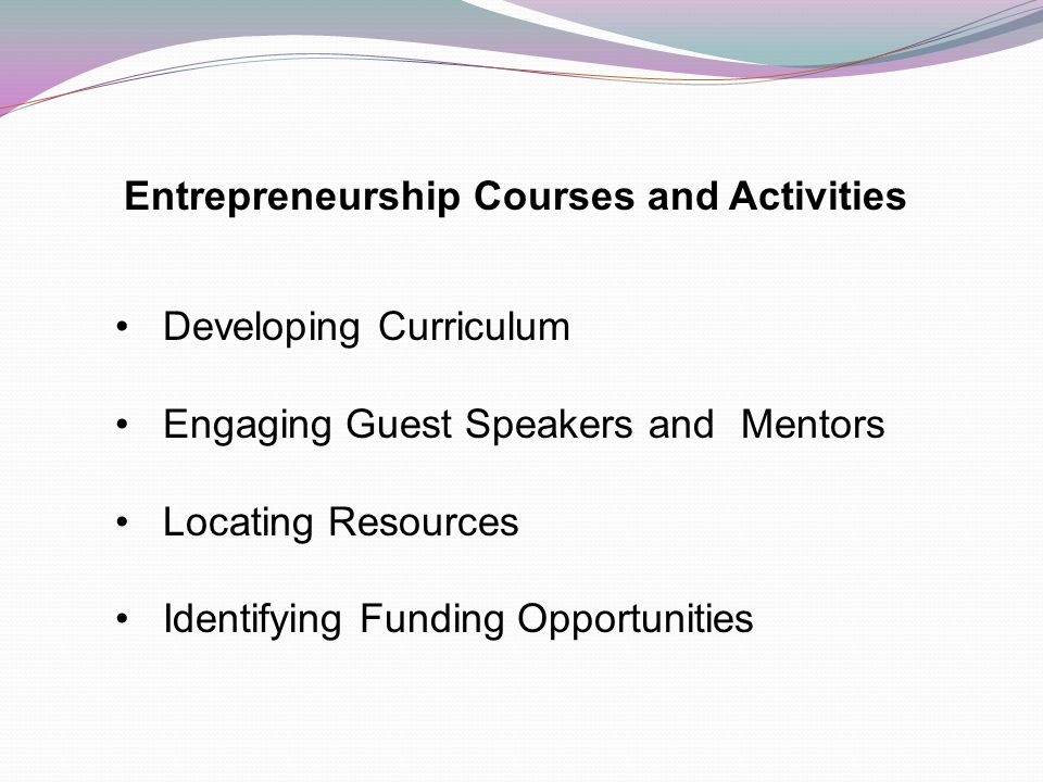 Entrepreneurship Courses and Activities Developing Curriculum Engaging Guest Speakers and Mentors Locating Resources Identifying Funding Opportunities
