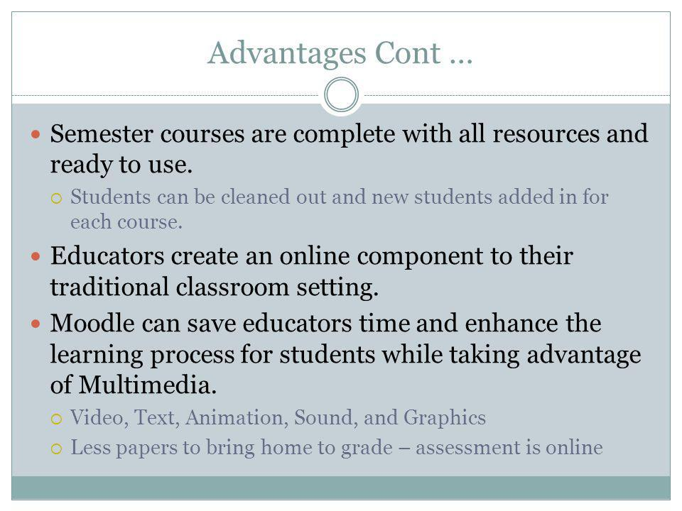 Advantages Cont … Semester courses are complete with all resources and ready to use.