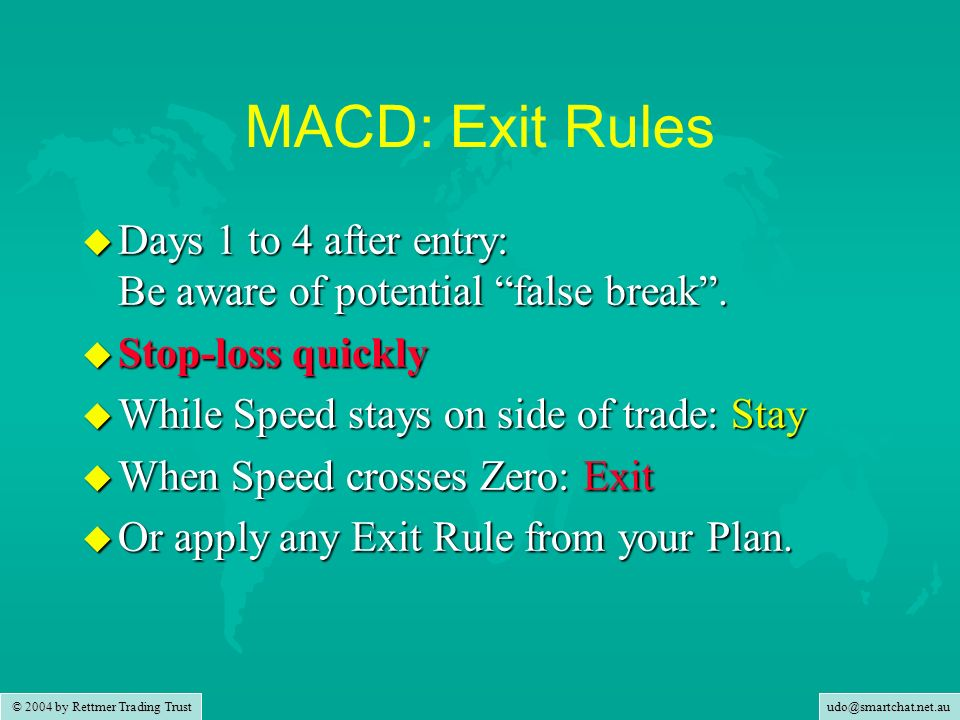 udo@smartchat.net.au © 2004 by Rettmer Trading Trust MACD: Exit Rules u Days 1 to 4 after entry: Be aware of potential false break. u Stop-loss quickl