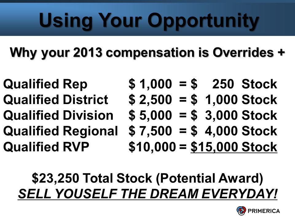 6 Lets Promote some RVPs $23,250 Total Potential Stock + $15,300 (minimum qualifying premium $25,500 bonusable premium at 60% overrides) = $38,550ish for each RVP Promotion