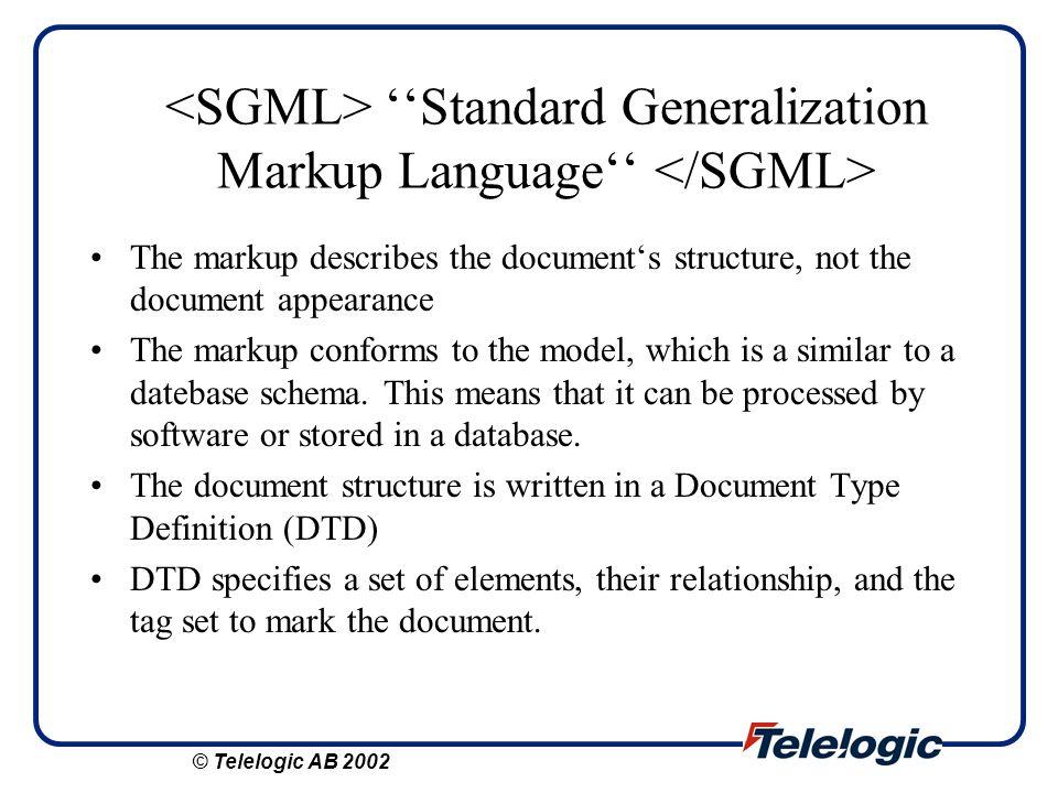 XML Metadata Interchange XMI is new OMG standard which combines UML and XML.