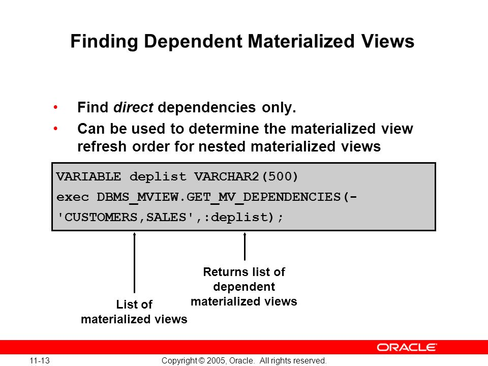 11-13 Copyright © 2005, Oracle. All rights reserved. Finding Dependent Materialized Views Find direct dependencies only. Can be used to determine the