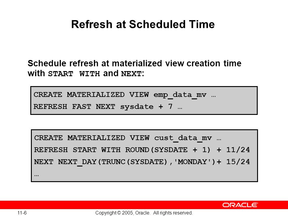 11-6 Copyright © 2005, Oracle. All rights reserved. Refresh at Scheduled Time Schedule refresh at materialized view creation time with START WITH and