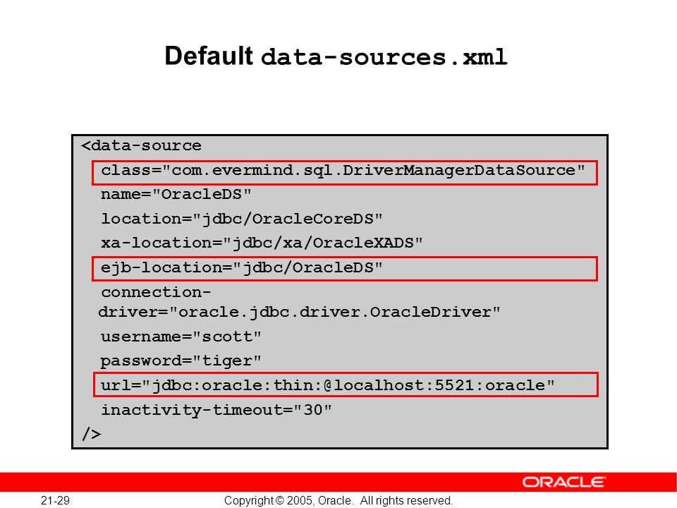 21-29 Copyright © 2005, Oracle. All rights reserved. Default data-sources.xml <data-source class=