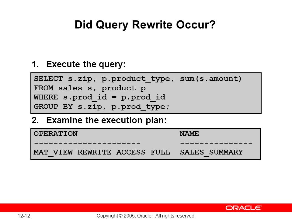 12-12 Copyright © 2005, Oracle. All rights reserved.