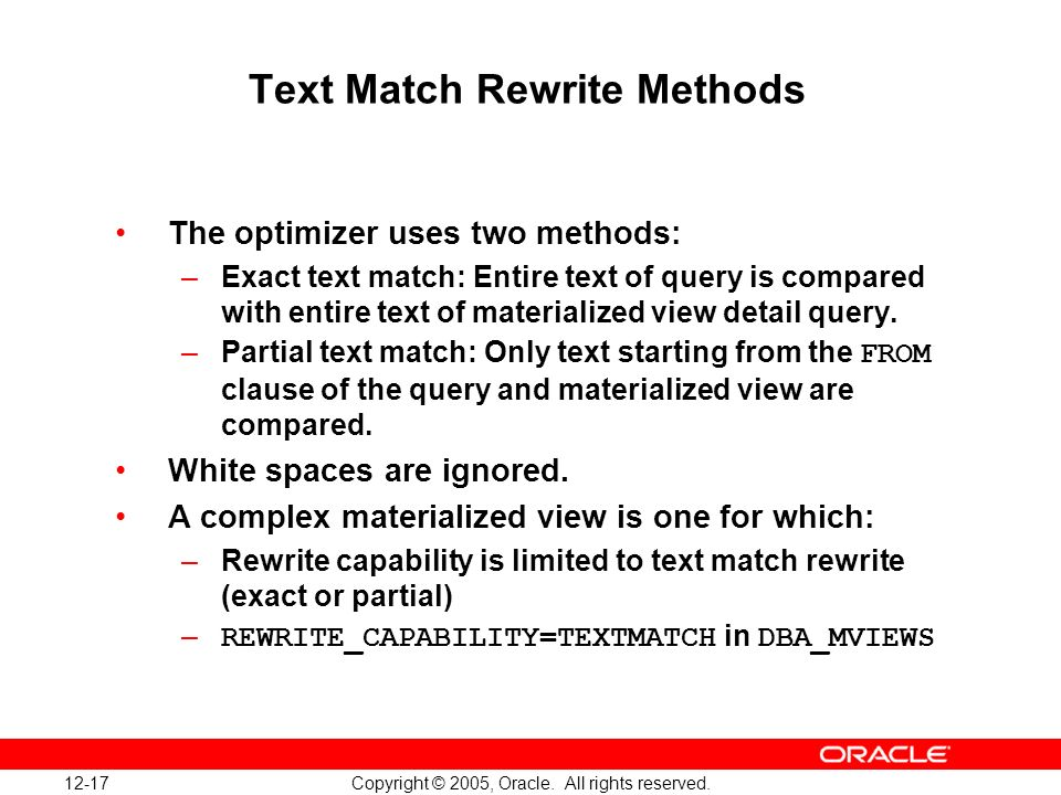 12-17 Copyright © 2005, Oracle. All rights reserved.