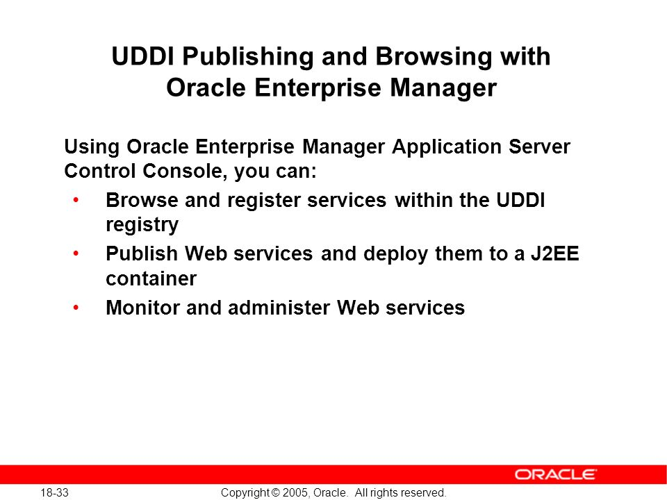 18-33 Copyright © 2005, Oracle. All rights reserved.