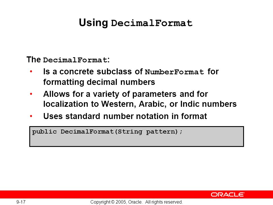 9-17 Copyright © 2005, Oracle. All rights reserved.